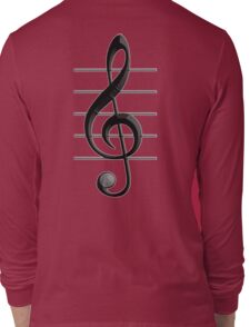 MUSIC, Musical, Note, Sound, Listen, Treble Clef, Triple Clef, Clef Long Sleeve T-Shirt