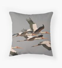 Yellow billed storks Throw Pillow