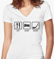 EAT SLEEP HOCKEY funny cool ice skate sport nhl canada Women's Fitted V-Neck T-Shirt