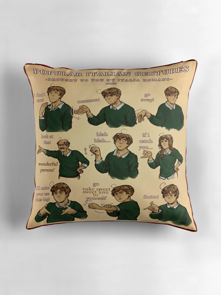 popular italian gestures brought to you by italia romano by zieberich - Popular Throw Pillows