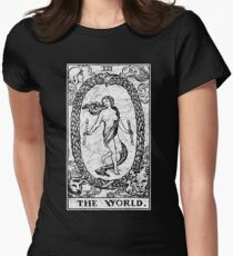 The World Tarot Card - Major Arcana - fortune telling - occult Women's Fitted T-Shirt