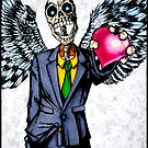 Suit wearing, winged, skeleton holding his heart.... by fmm3