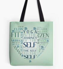 Yoga Heart Word Cloud Tote Bag