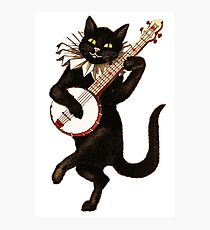 Funny Vintage Cat Dancing and Playing Banjo Photographic Print
