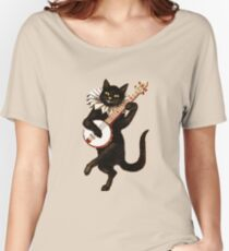 Funny Vintage Cat Dancing and Playing Banjo Women's Relaxed Fit T-Shirt