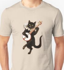 Funny Vintage Cat Dancing and Playing Banjo Unisex T-Shirt