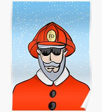 Fireman Santa Poster