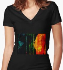 Woman and Fish by Emily Laird Women's Fitted V-Neck T-Shirt