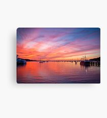 Painted Skies over Port Jefferson Harbor Long Island NY Canvas Print