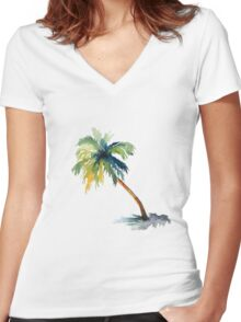 Watercolor palm tree Women's Fitted V-Neck T-Shirt