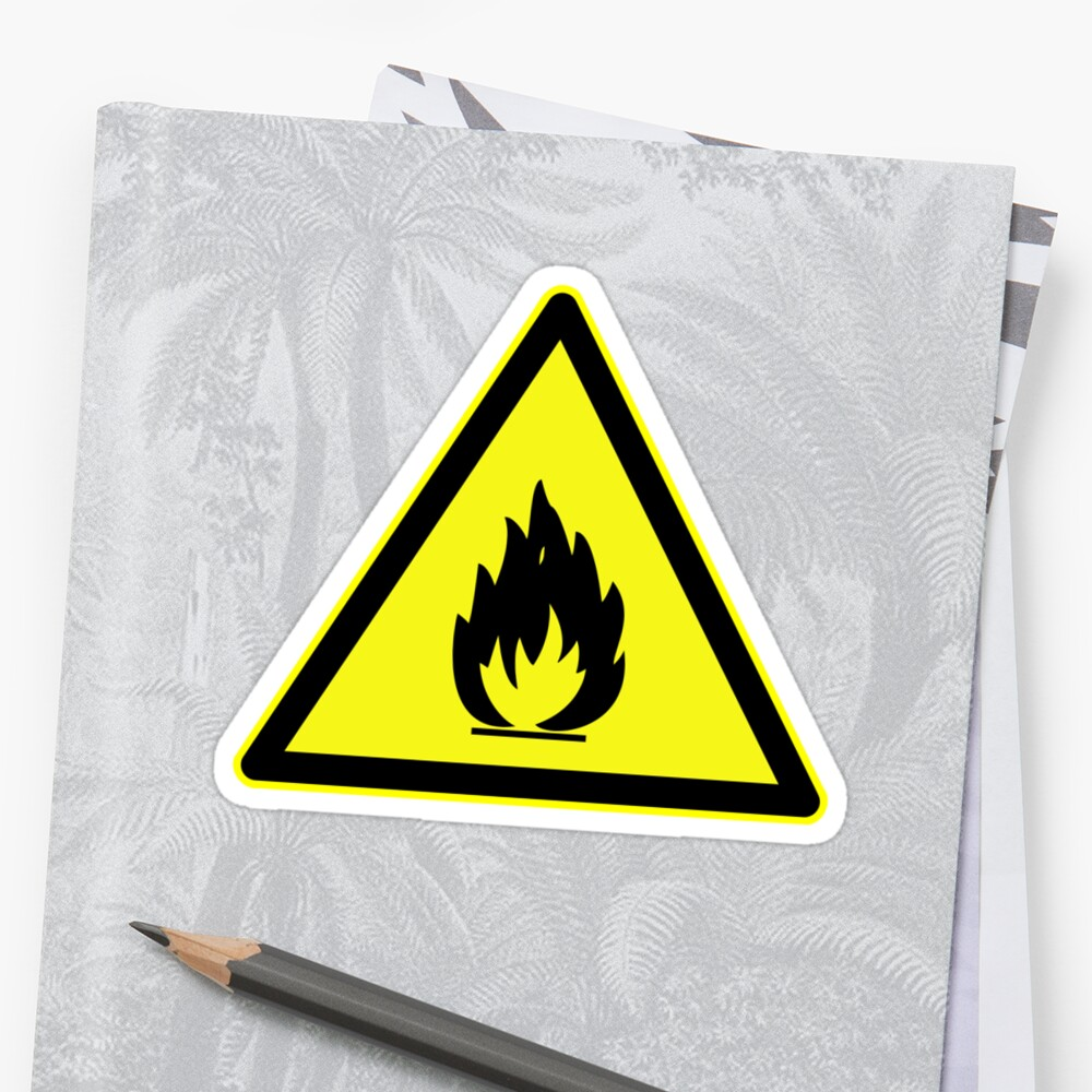 Fire Hazard Symbol Stickers By Caldayjd Redbubble