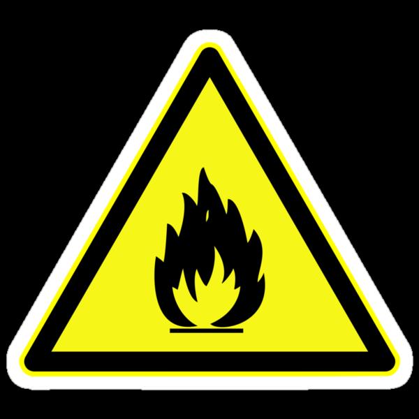 """Fire Hazard Symbol"" Stickers by caldayjd | Redbubble"