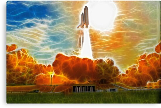 Abstract Shuttle Columbia Launch by Fred Seghetti