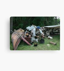 explorer making a meal Canvas Print