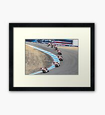 Marco Simoncelli going down the corkscrew at laguna seca 2011 Framed Print