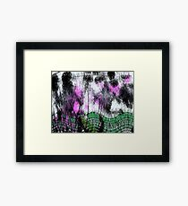 Fury green curved lines. Framed Print