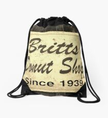 Britt's Donut Shop Sign 3 Drawstring Bag