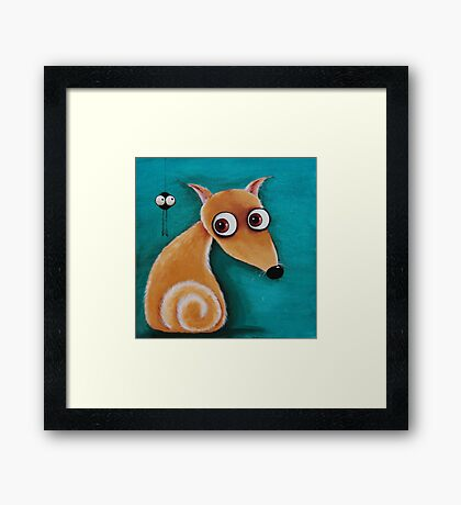The dog and the spider Framed Print