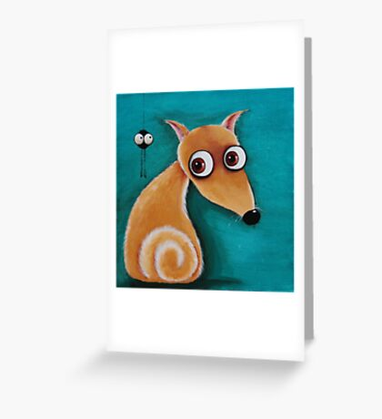The dog and the spider Greeting Card