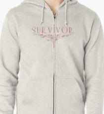 Survivor. breast cancer Zipped Hoodie