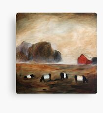 Cows and Barn Painting Canvas Print
