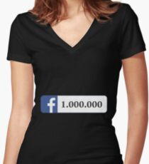 Facebook 1 Million Likes, Friends and Views Women's Fitted V-Neck T-Shirt
