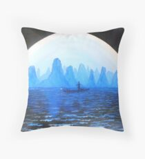 Li River Moonlight Throw Pillow