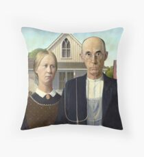 Iconic American Gothic by Grant Wood Throw Pillow
