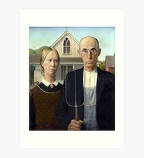 Iconic American Gothic by Grant Wood Art Print