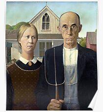 Ikonische amerikanische Gotik von Grant Wood Poster