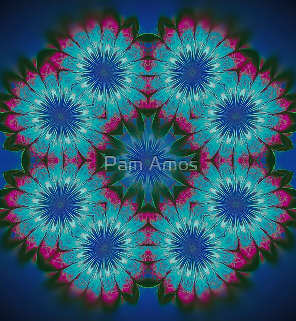Flowers on Blue by Pam Amos