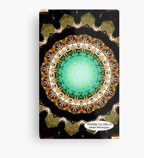 Black Gold Green Mandala Spiral Notebook Metal Print