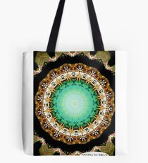 Black Gold Green Mandala Spiral Notebook Tote Bag