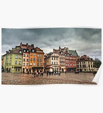 Gloomy Sky Over Warsaw Old Town Poster
