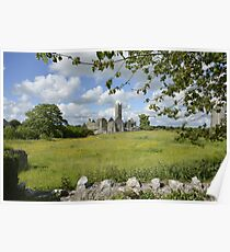 Quin Abbey County Clare Ireland Landmark Scenic Landscape Poster