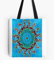 Blue, Orange and Red Mandala Journal Tote Bag