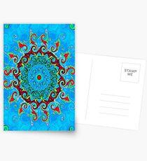 Blue, Orange and Red Mandala Journal Postcards