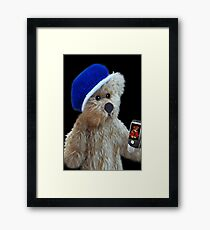 ❀◕‿◕❀TEDDY BEAR'S CELL PHONE.. SHOWING OFF HIS LITTLE GIRL FRIEND AW..❀◕‿◕❀ Framed Print