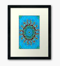 Blue Turquoise Orange and Red Mandala Framed Print
