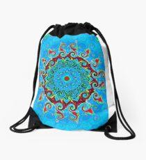 Blue Turquoise Orange and Red Mandala Drawstring Bag