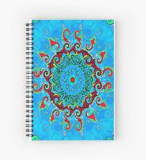 Blue Turquoise Orange and Red Mandala Spiral Notebook