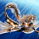 Koi Mermaid, Flying Through the Water by Red-wolf-Ink