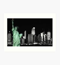 new york night black white cityscape skyline landmark hudson river statue liberty Art Print