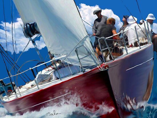 Red Sailboat  by Tom Sachse