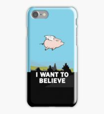 The X-Files: I Want to Believe Poster Flying Pig Spoof iPhone Case/Skin