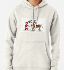 Santa Claus with his reindeer Pullover Hoodie