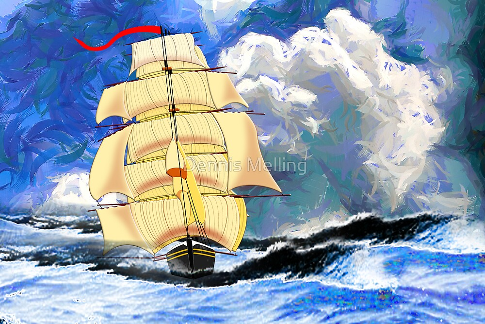 The Golden Clipper in Rough Sea by Dennis Melling