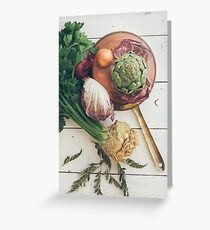 Assorted Vegetables With Copper Pan Greeting Card