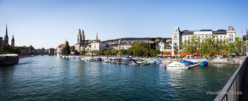 Zurich (Zürich) - River Limmat with Grossmünster by visualspectrum