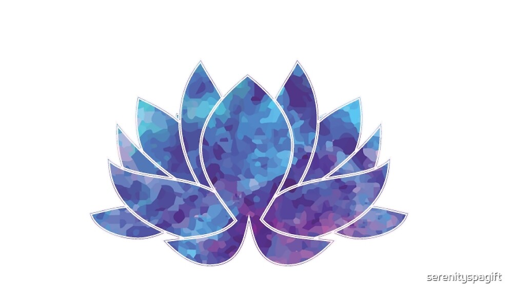 Blue Watercolor Lotus Flower By Serenityspagift Redbubble